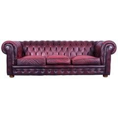 Chesterfield Three-Seat Sofa Red Leather Couch Vintage Retro Rivets