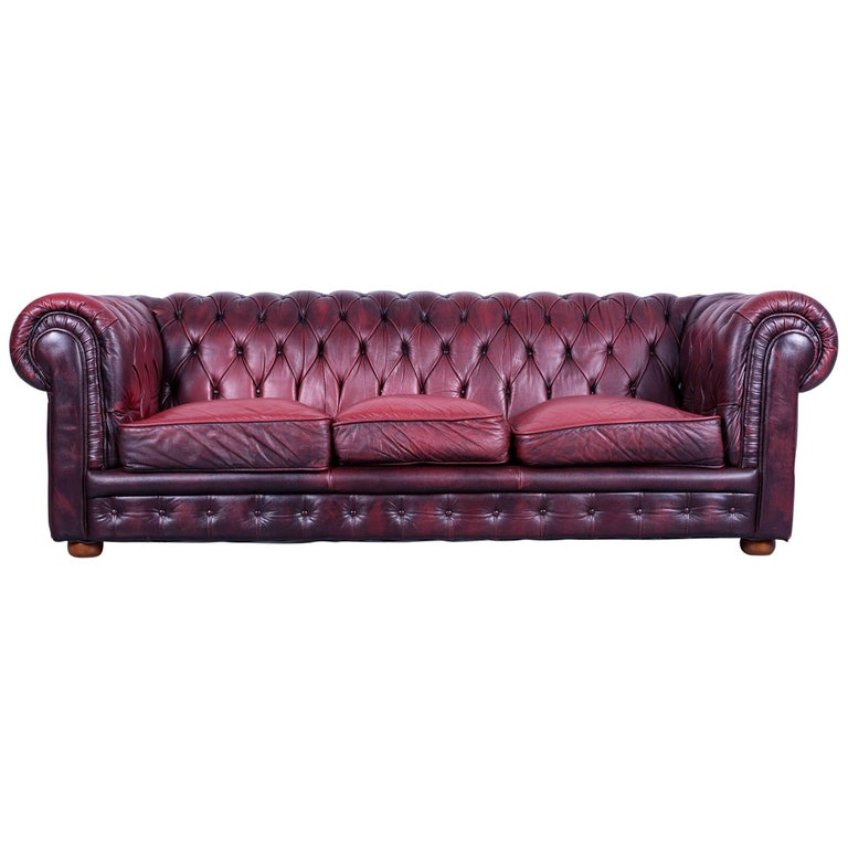 Chesterfield Three Seat Sofa Red Leather Couch Vintage