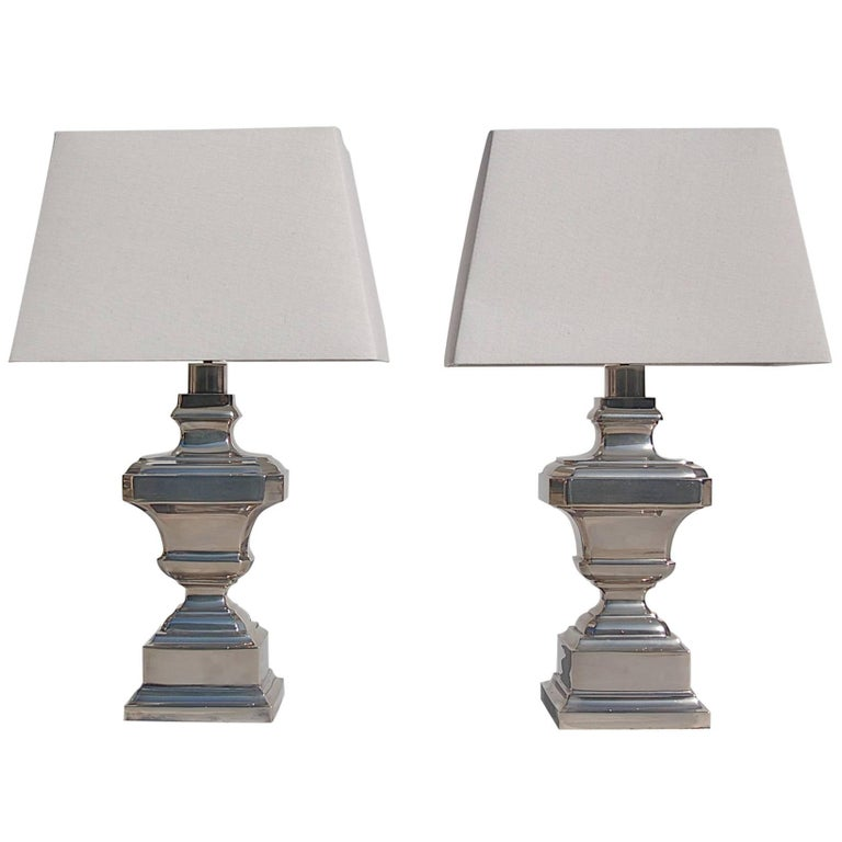 Pair of Silver Plated Table Lamps, circa 1970s