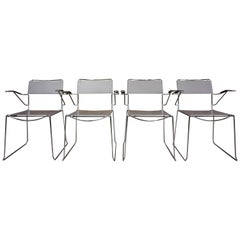 Set of Four Italian Design Chrome and Leather Armchairs