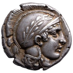 Ancient Greek Silver Stater Coin from Thurium South Italy, 443 BC