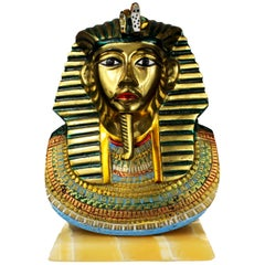 French Bust Tutankhamon in Brass, Hand-Painted with Marble Base, 1950s