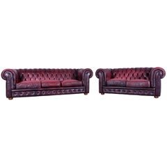Chesterfield Sofa Set Red Leather Couch Vintage Retro Rivets