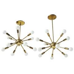 Pair of 1950s Twelve-Arm Brass Sputnik , USA