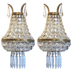 Early 20th Century Pair of French Crystal Mirrored Wall Sconces