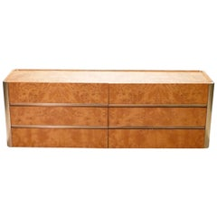 Large Willy Rizzo Brass and Burl Wood Chest of Drawers, 1970s