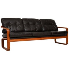 1960s Vintage Danish Teak and Leather Sofa