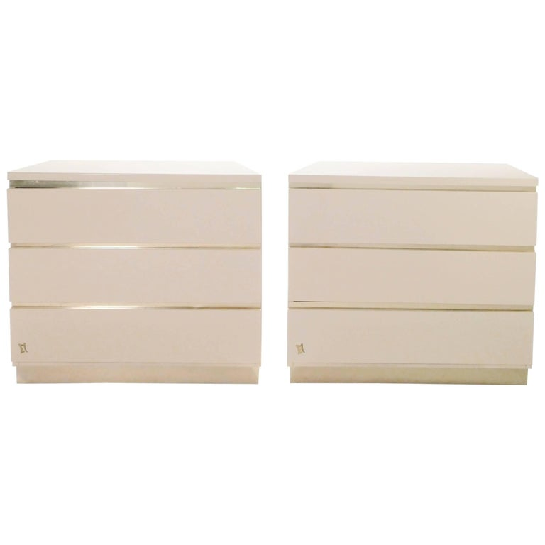 Pair of Small Lacquer Chest of Drawers by JC Mahey, 1970s
