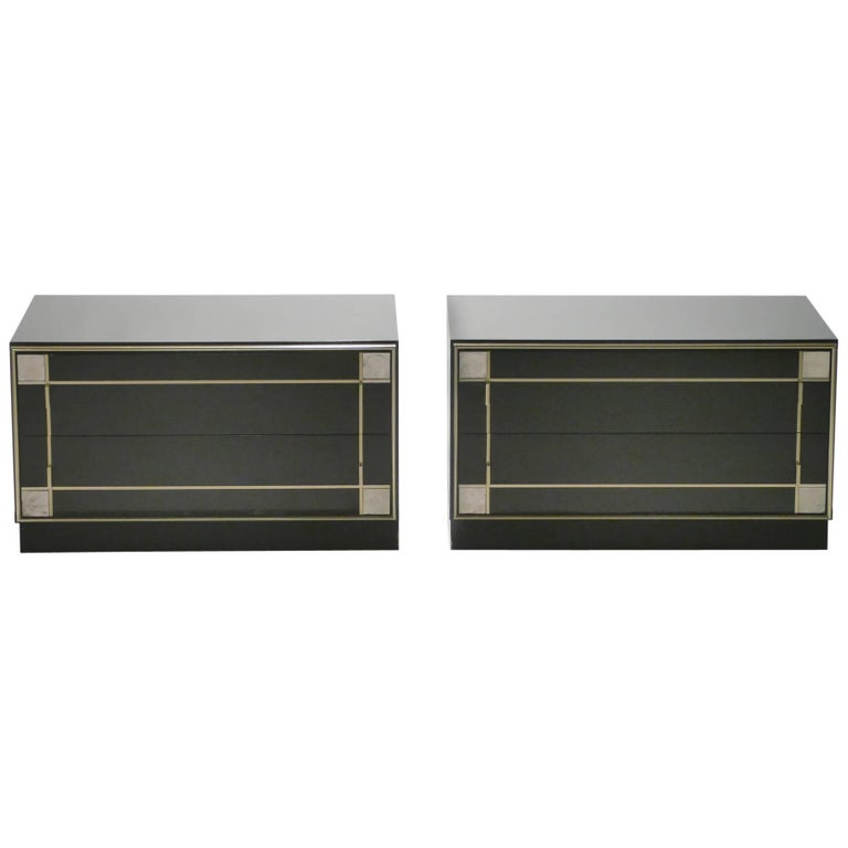 Pair of Brass and Lacquer Side Tables 1970s