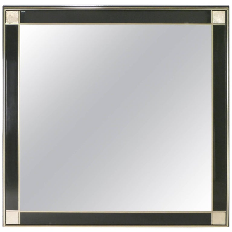 Brass and Black Lacquer Mirror, 1970s