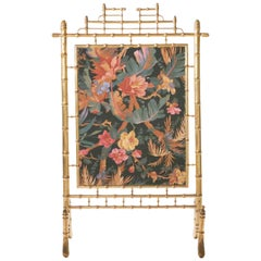 Faux Bamboo Decorative Fire Screen, 1970s