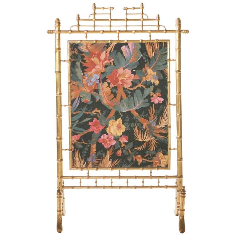 Faux Bamboo Decorative Fire Screen, 1970s