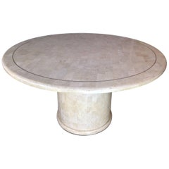 Tessellated Travertine and Brass Round Dining Table Hollywood Regency