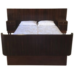 Art Deco Queen-Size Bed and Bedside Tables in Macassar Wood