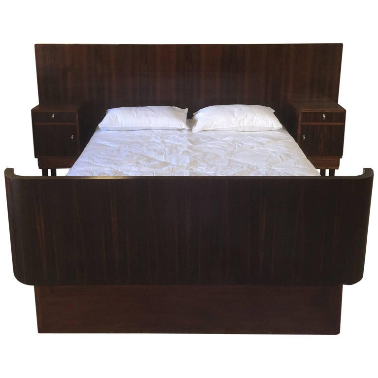 Art Deco Queen Size Bed And Bedside Tables In Macar Wood