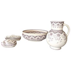 "Four Pieces Pottery Chamber Set Pale Rose Violet ""Malines"" Sarrguemine"