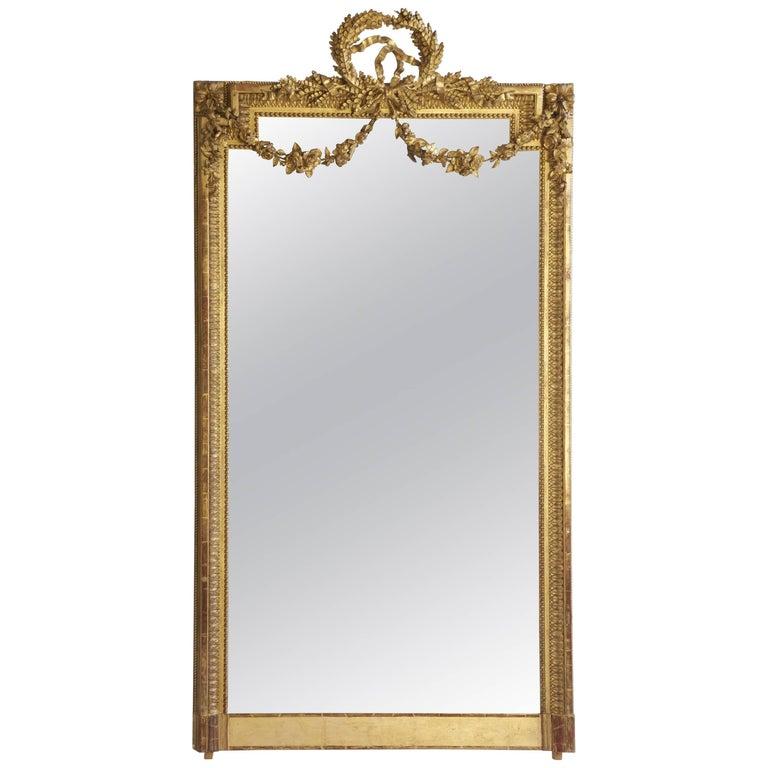 Large 19th Century Louis XVI Style Gold Mirror