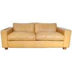 Dutch Design Yellow Leather Two-Seat Designed by Jan de Bouvrie