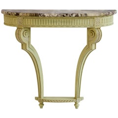 Louis XVI Style Demi Lune Console with Marble Top