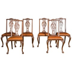 Original Set of Six Chairs Neo Baroque, circa 1870 Walnut Veneer