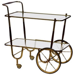 Italian Midcentury by Cesare Lacca 1950s Brass Rosewood Trolley Bar Cart