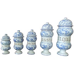 19th Century Five Pieces Pharmacy Lid Jars Pottery Grey Blue