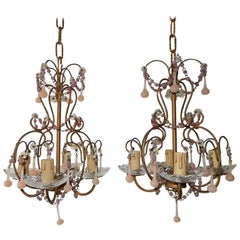 Set of Two Pink Opaline Drops and Beads Petit Chandeliers, circa 1920