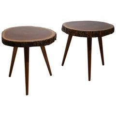 Two Midcentury 'Panamaribo' Massive Mahogany Wood Trunk Tripod Side Tables
