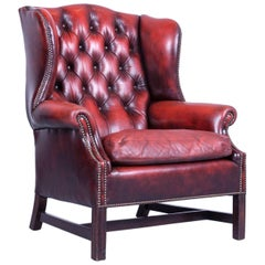 Chesterfield Armchair Oxblood Red Leather Buttoned Vintage Retro Wood Handmade