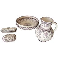 "Four Pieces Pottery Chamber Set Pale Rose Violet ""Malines"" Sarrguemine"