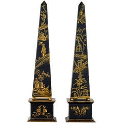 Pair of Tall Late 19th Century English Chinoiserie Painted Obelisk Models