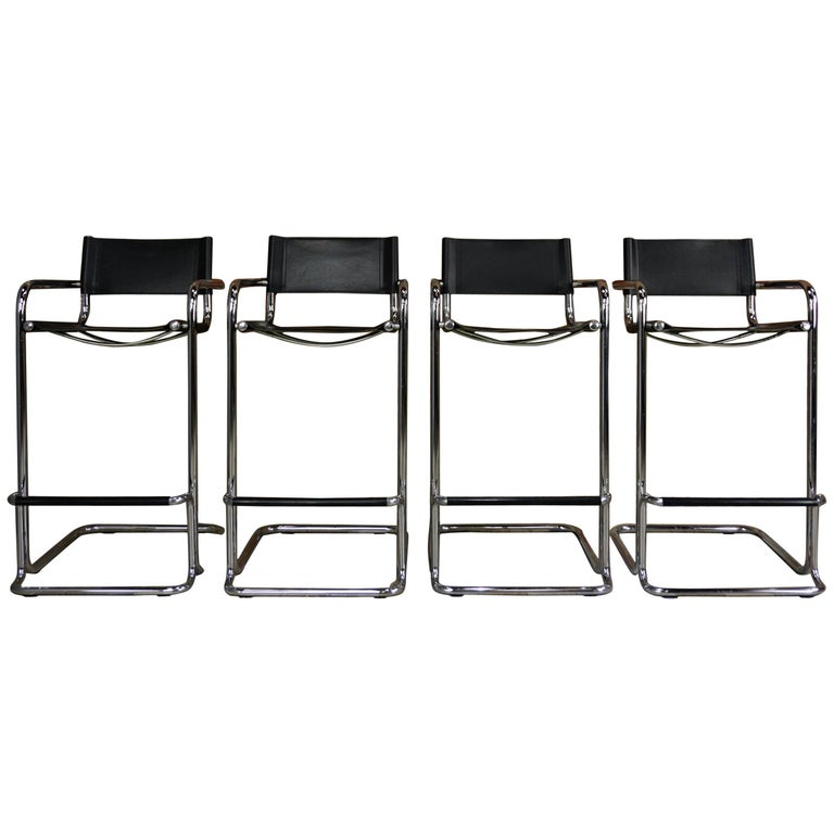 Set of Four Chrome and Leather Bar Stools Mart Stam Bauhaus Design