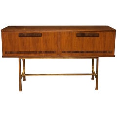 Mid-Century Modern Italian Oak Credenza with Two Doors and Brass Legs