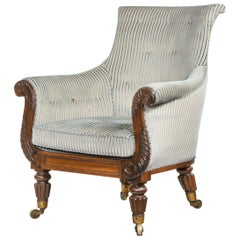 Regency Carved Rosewood Library Armchair