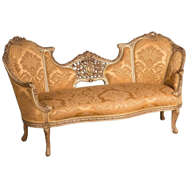 Large Elegant French Sofa Canape In Louis Quinze Style For