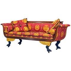 Stunning Gianni Versace Fabric Covered American First Period Empire Carved Sofa
