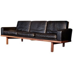 "Black Leather Sofa ""Tornado"" by Eric Merthen, 1960s"