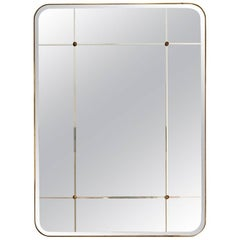 Bathroom Mirror for Sanders by Lind + Almond in Cut-Glass and Brass, Small