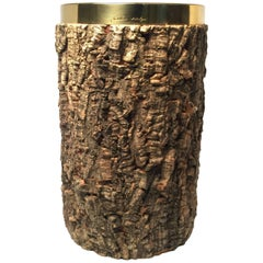 Rare Signed Gabriella Crespi Bark and Gold Chrome Wine Cooler, 1970s, Italy