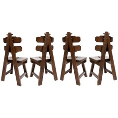 Brutalist Oak Spanish Dining Chairs