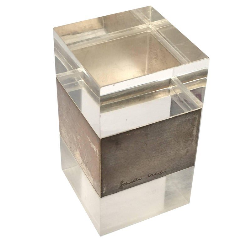 Rare Signed Gabriella Crespi Plexiglass and Chrome Box Desk, 1970s, Italy