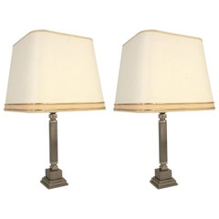 Pair of Chrome and Brush Metal Lamp