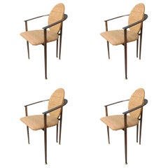 Set of Four Copper Metal and Fabric Dutch Design Belgo Chrome Armchairs