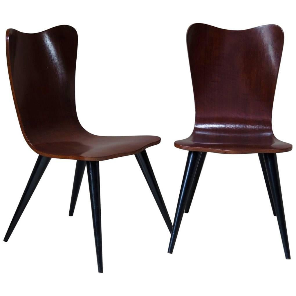 Six Molded Plywood Chairs, 1950s For Sale