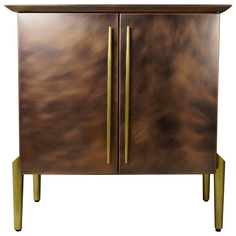Copper and Brass Metal Dutch Design Hanging Bar Cabinet by Belgo Chrome