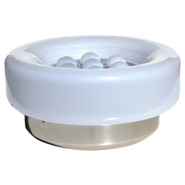 Italian Design 1960s Milky Murano Bubbles Glass Steel Table Lamp