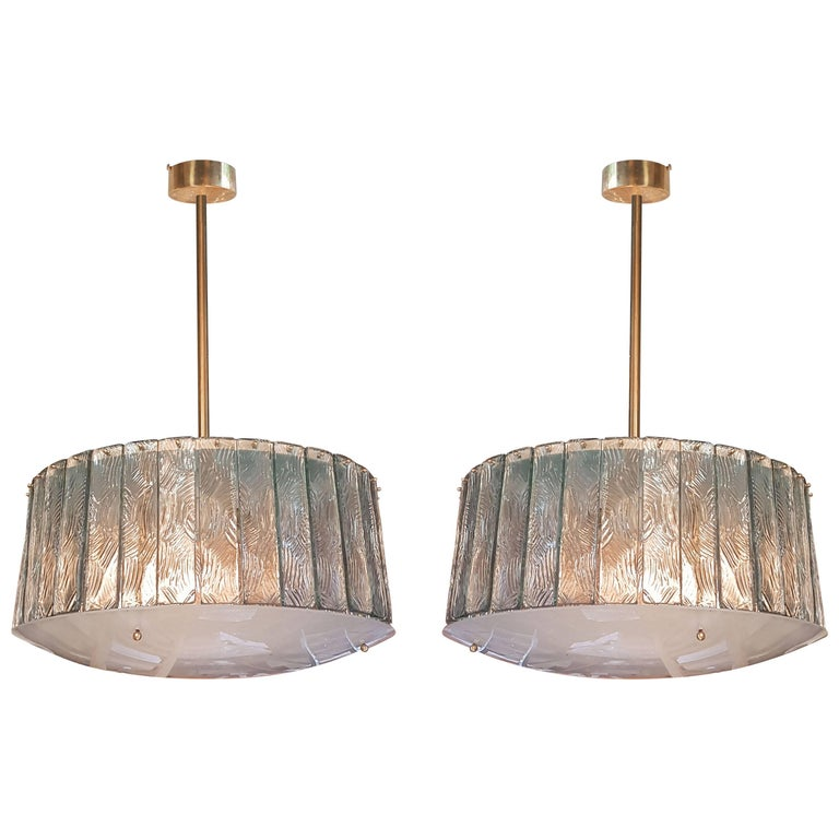Pair of Midcentury Chandeliers by Fontana Arte in the Style of Gio Ponti