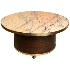 1970s Round Coffee Table with Pink Marble Top, Wood Veneer, Brass Inlay & Wheels