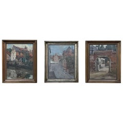 Trio of Antique Oil Paintings on Canvas by Adrien Wernaers