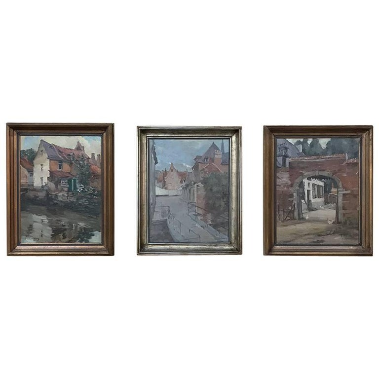 Trio of Antique Oil Paintings on Canvas by Adrien Wernaers For Sale